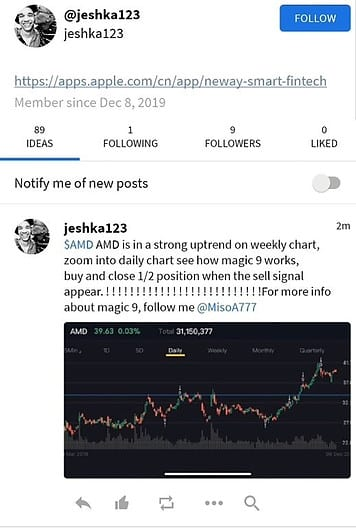 Example of Spam post o Stocktwist