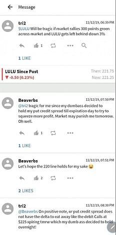 LULU post on Stocktwists