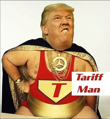 picture of President Donald J. Trump depicted as the Tariff Man