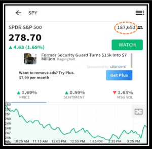 SPY Stocktwits Chat Room Depicting number of Followers as of April 12 2020