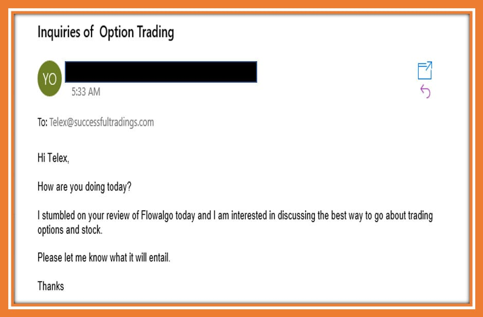 Email Inquiry to Successfultradings.com on how to go about Learning Option Trading