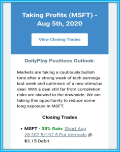 Optionsplay Review - OptionsPlay winning trade on MSFT with 35% profit