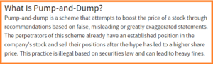 Pump and Dump Strategy as depicted in Jason Bond Picks Complaints