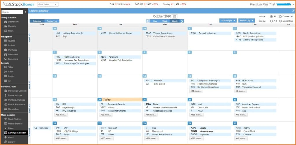 Stock Rover Screener - Stock Rover Earnings Calendar