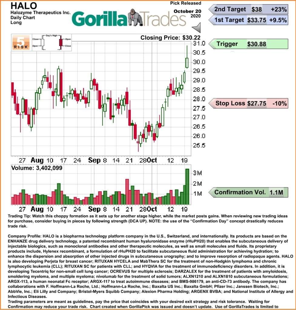 Gorilla Trades Review - GorillaTrades New Potential Pick HALO Graph