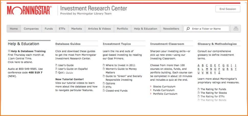 Morningstar Investment Review - Morningstar Help & Education Center