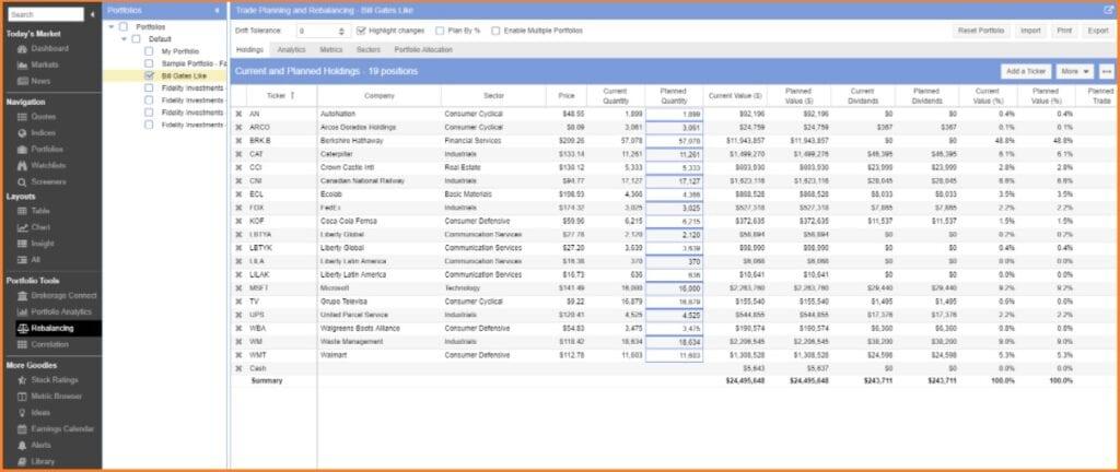 Stock Rover Screener - Stock Rover Rebalancing