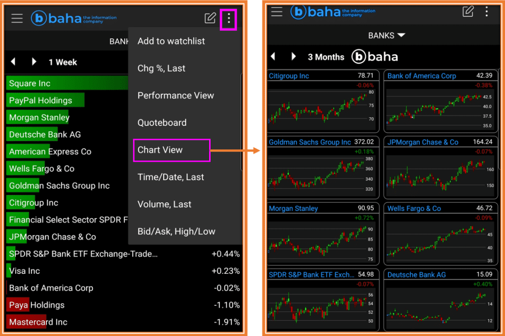 How To read stock charts for beginners - How to Go from Performance View to Chart View inside BAHA App (Teletrader App)
