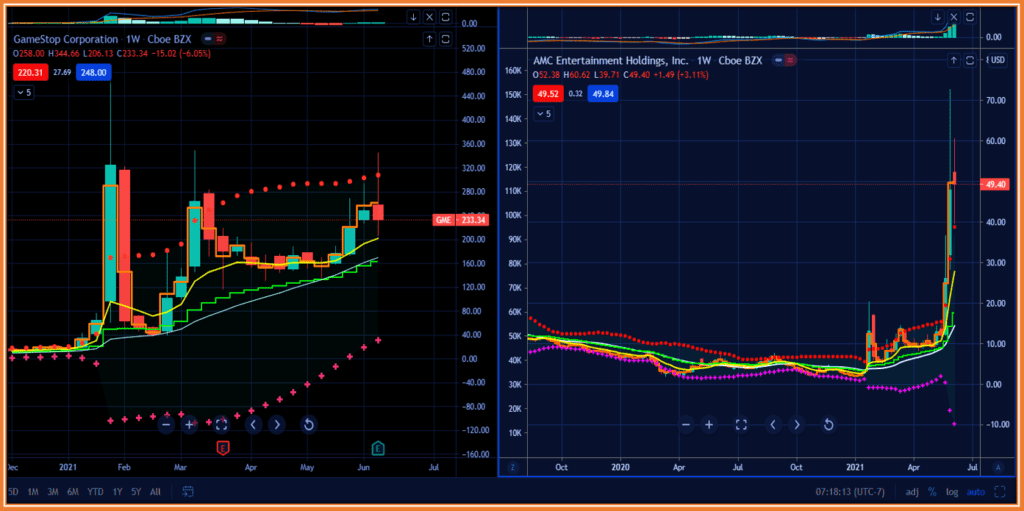 How To Profit From Meme Stocks Trading Frenzy - AMC and GME Weekly charts depicting high volatility in 2021