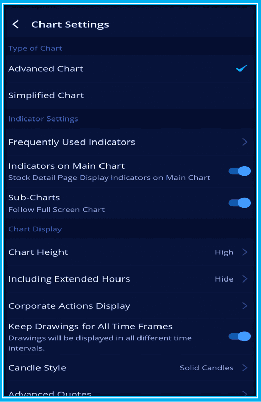 How To Red Webull Charts - Charts settings menu on Webull App