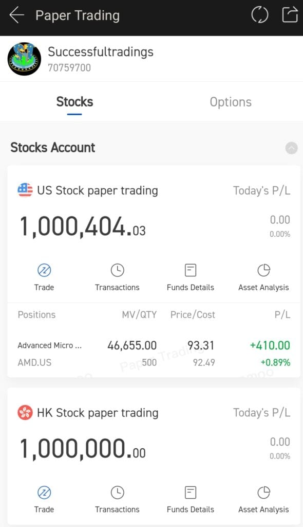 FUTU MOOMOO Trading App Review - Demo Account with $1 Million for stocks and Options trading