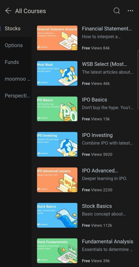 Futu Moomoo Trading App Review - Free Trading Courses inside Moomoo App