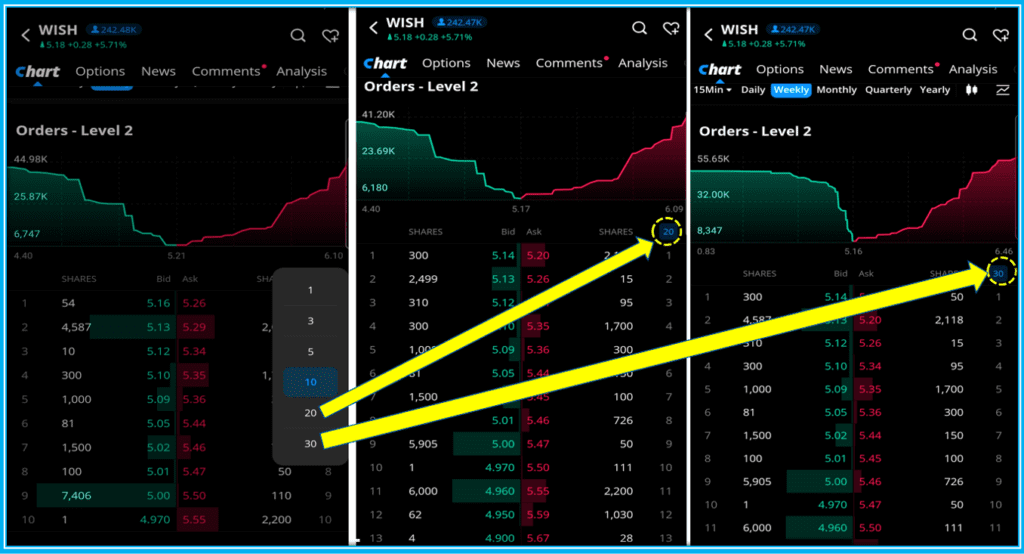 How To Use Level 2 Market Data On Webull - How to change the numbers of Orders Displayed on Webull Level 2 Advance